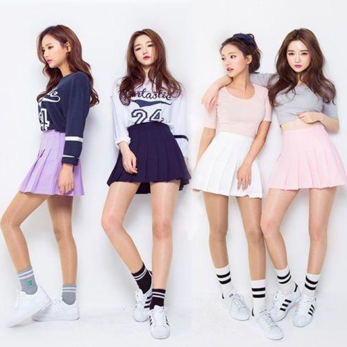 Korean-School-Girls-Pleated-Mini-Uniform-Skirt-Cheerleader-Sailor-Short-Dress