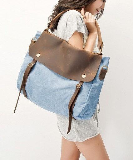 Light-blue Canvas-Leather Tote/ Shopping bag / Shoulder Bag/ Woman bag/ Leather Satchel/ via Etsy.