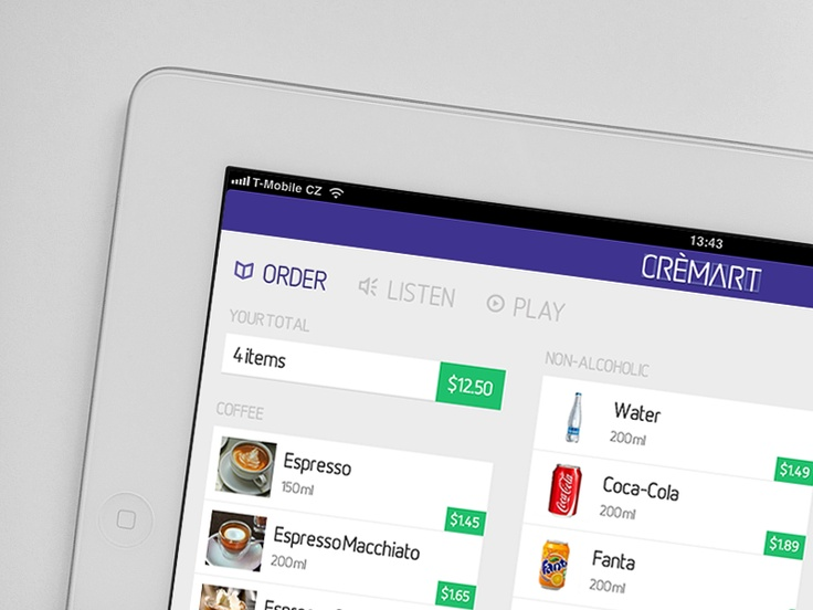 Interactive menu iPad app by Adam Hayek