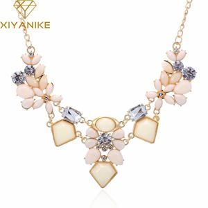 New Arrival Resin Fashion Colorful Cute Charm Gem Flower Choker Necklaces & Pendants Fashion Jewelry Woman Gift Summer style 749