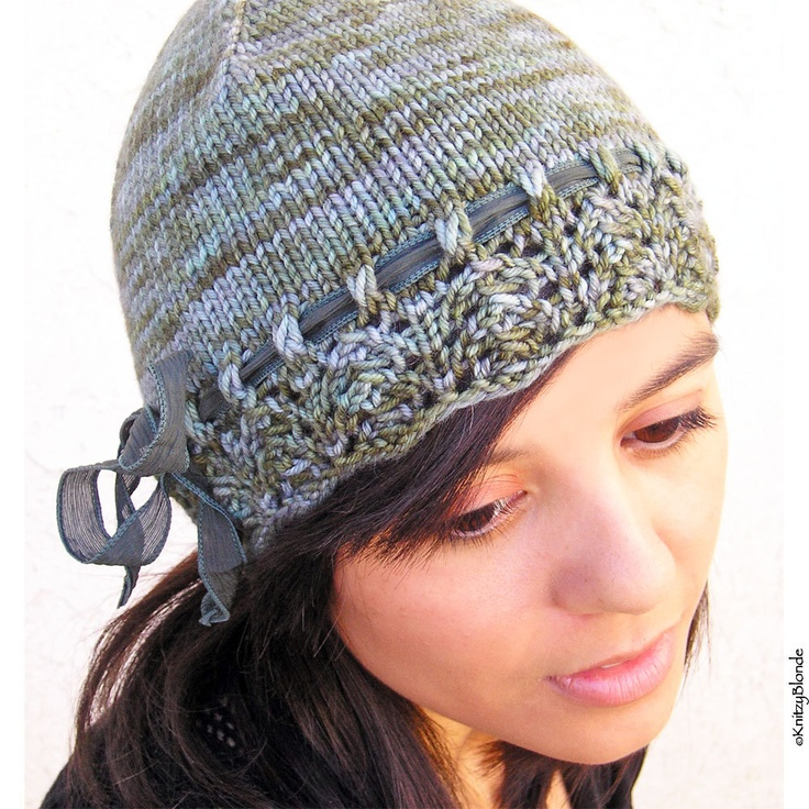 Lacy Hat, Hand Knit, Hand Dyed Merino Wool Cashmere, Hunter Green Dusty Blue, Silk Ribbon