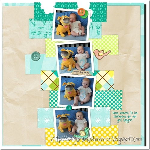 Baby Scrapbook Layout with Monthly Pictures