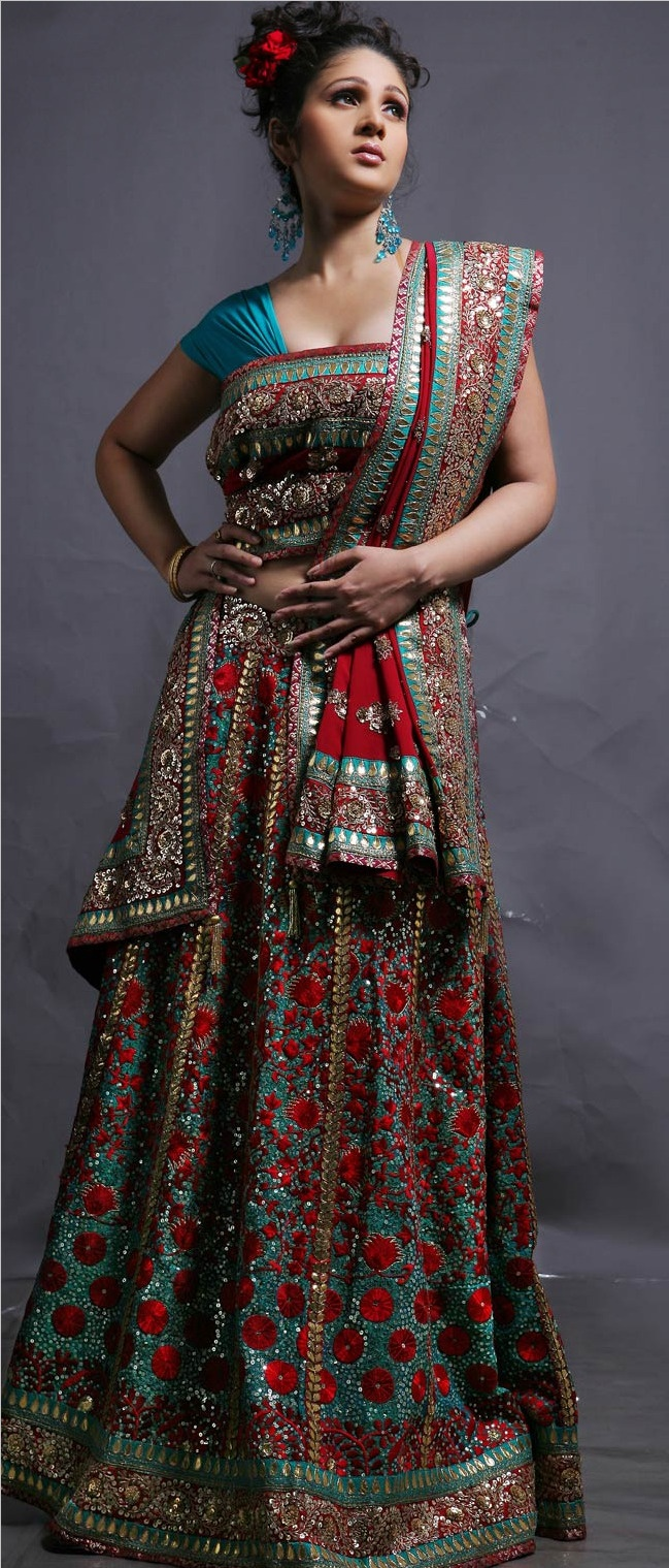Turquoise #green and #Red Pure Crepe #Lehanga Choli with Dupatta @ $797.09 | Shop @ http://www.utsavfashion.com/store/sarees-large.aspx?icode=lcj000604