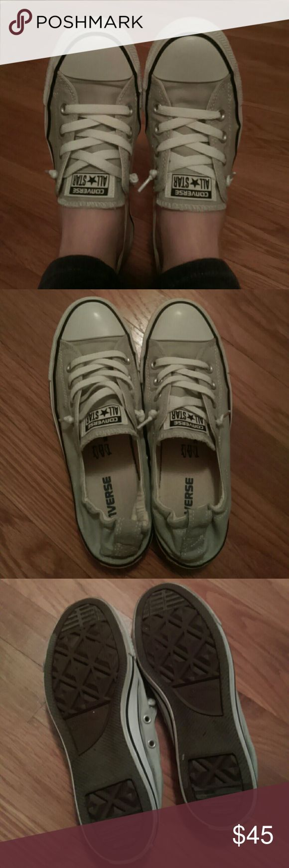 Gray Women's Converse Slip Ons Having to re-Posh. Oh how I wish these fit! They look like they have NEVER been worn. In great condition but just a teeny bit small for me. Converse Shoes Sneakers