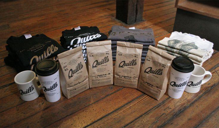 Quills Coffee  Branding, illustration and design for Quills Coffee. Snake illustration by Douglas Miller.