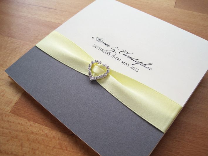 Albany Pocketfold Wedding Invitations In Cream And Grey And Finished With  Pale Yellow Ribbon And A