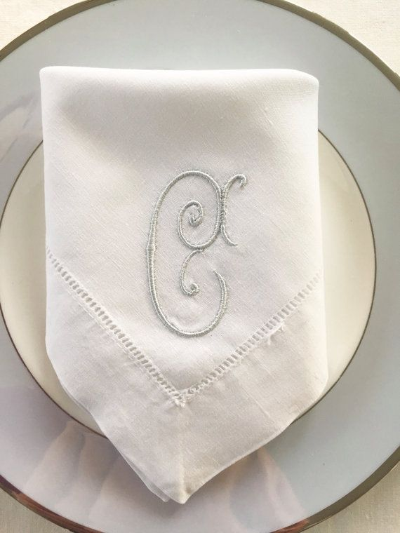 Monogram Embroidered Cloth Napkins Single Letter Fine Linens Wedding Gift Personalized Table