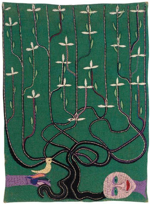 Árbol de la vida. 1963. 135 x 97,5 cm. Yute teñido y bordado con lanigrafía. Fundación Violeta Parra.