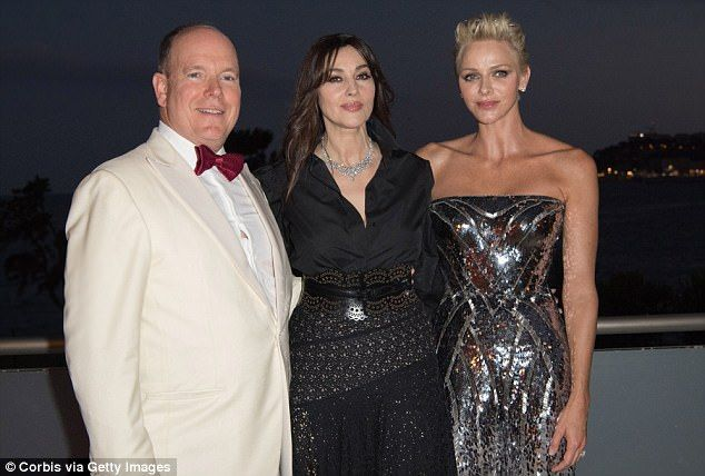 Camera ready: Prince Albert II of Monaco and Princess Charlene of Monaco posed with film starMonica Bellucci