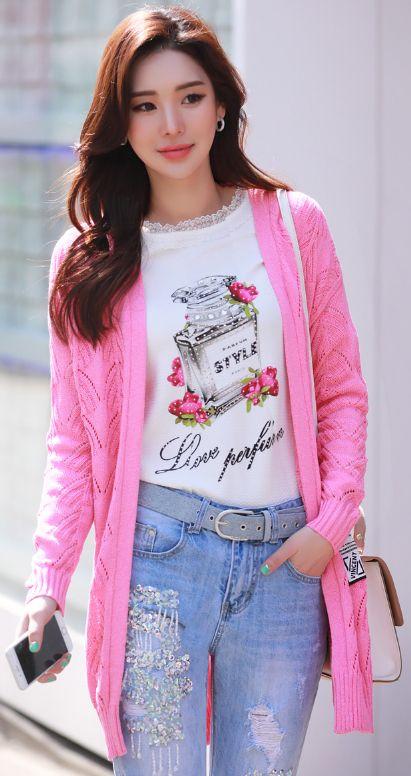 StyleOnme_Bright Color Open-front Long Cardigan #pink #spring #bold #vivid #vibrant #neon #stylish #koreanfashion #kstyle #seoul #dailylook #caridgan
