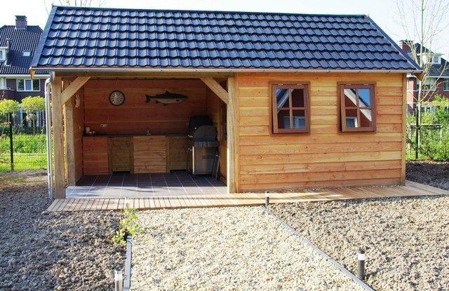 Tuinhuis Rustiek 02 (Tuinhuis van Douglashout met veranda 6,5 x 4 meter)…