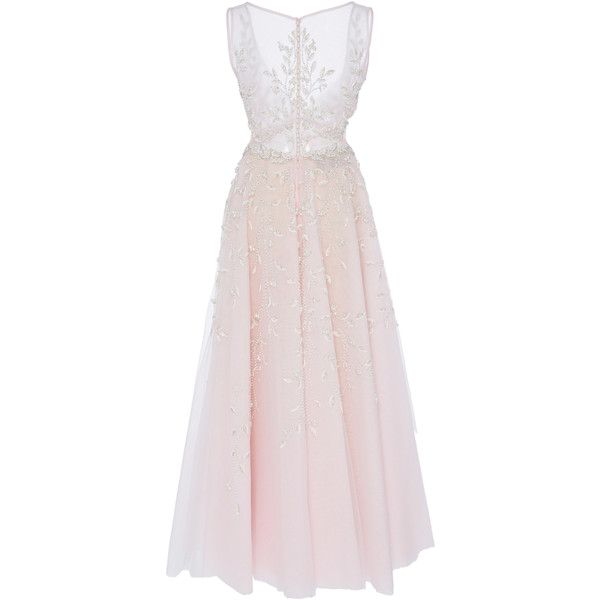 Georges Hobeika     Plunging V Ankle Length Dress ($7,300) ❤ liked on Polyvore featuring dresses, gowns, pink ball gown, sleeveless dress, plunging v neck dress, v neck gown and pink evening dress