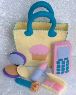 Cupcake Tote Bag Purse with Makeup Accessories Felt - I love it