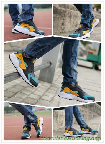 Gray / Amarillo / azul Nike Air Huarache 318429-307 Hombre outlet zapatos online