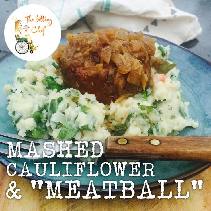 """Garlic Cauliflower """"mashed potatoes"""" with the best vegetarian meatball ever from Vegetarian Butcher in a yummy onion gravy."""
