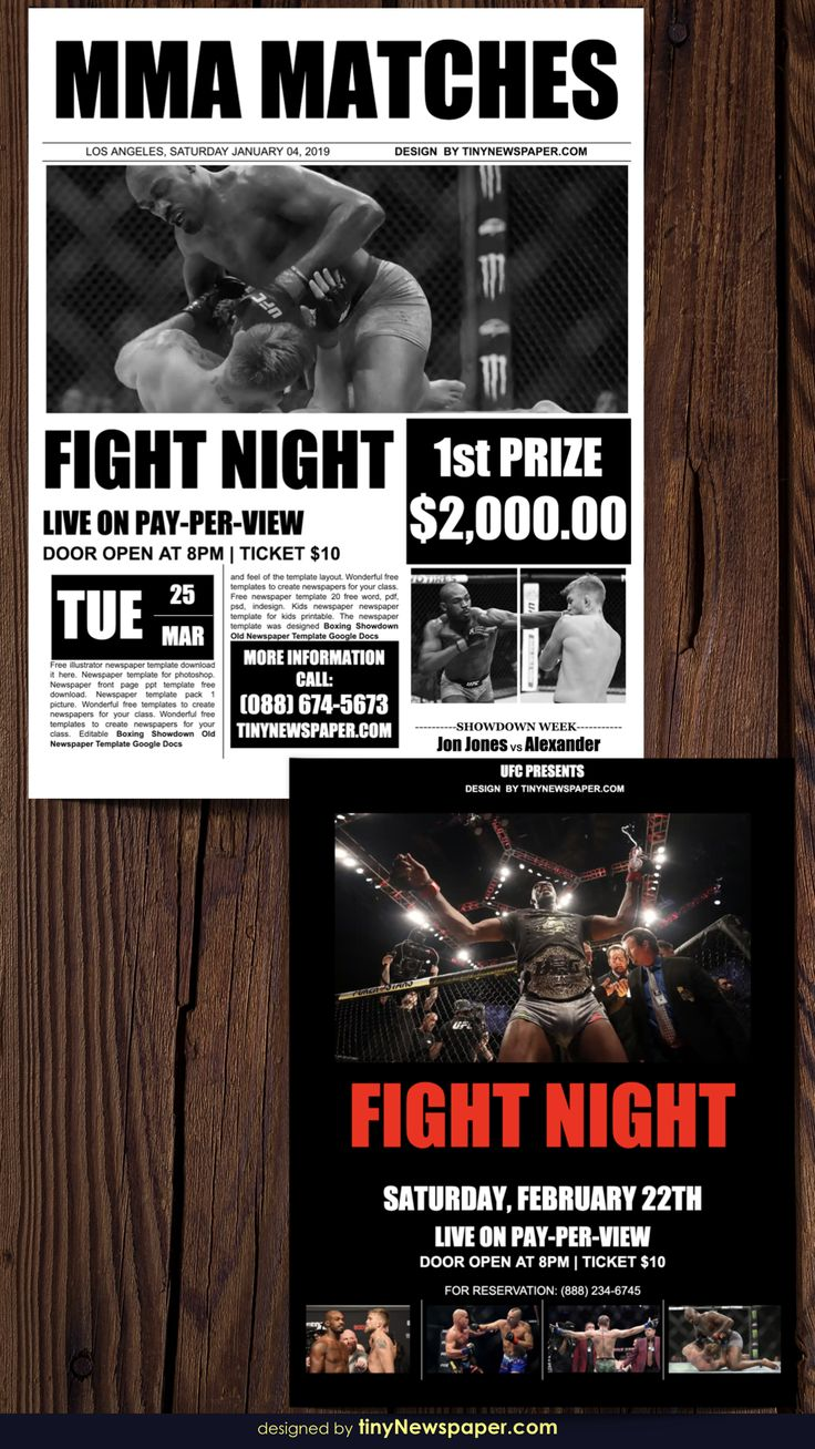 Flyer Mma Boxing Showdown Old Newspaper Template Google Docs