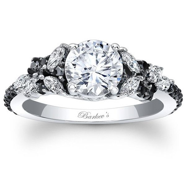 "Barkev's 14K White Gold and Black Diamond Encrusted ""Petal"" Engagement Ring With 0.32 Carats Marquise Cut Diamonds and 0.32 Carats Round Cut Diamonds Style 7932L"