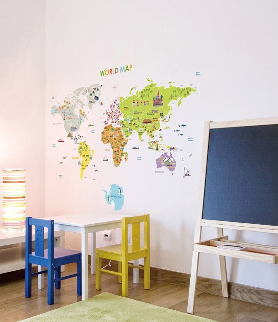 Illustrated World Map Removable Wall Decal Nursery Art By Glassnam Removable Wall Decals Nursery Wall Decor Stickers Nursery Wall Decor