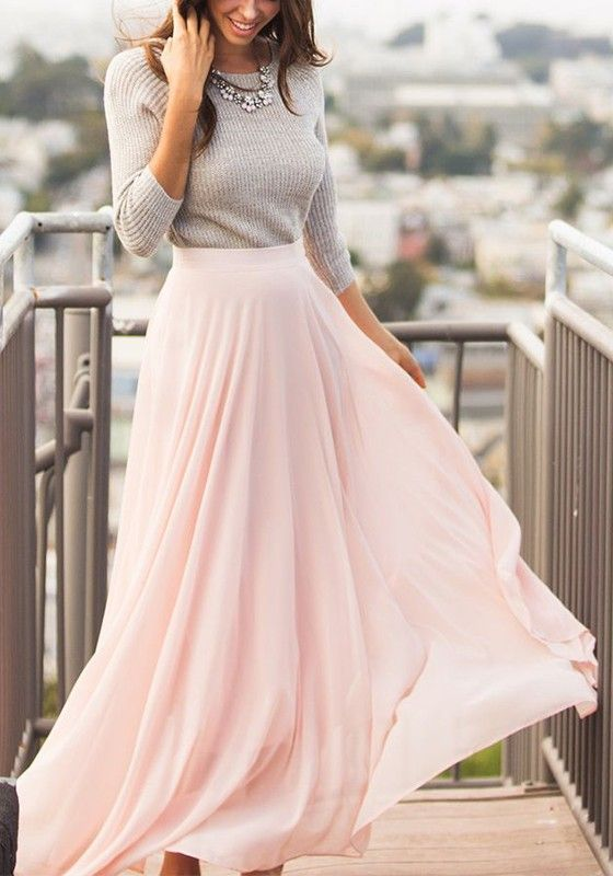 Baby Pink Draped Loose Thin Elegant Casual Pleated Long Skirt