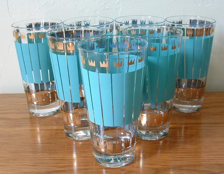 fred press glassware | Vintage Fred Press Glasses Blue / Green Gold Mid Century Barware Set ...