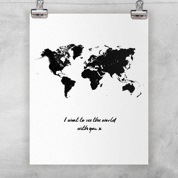 Quiero ver el mundo. Cita de amor. Vector de mapa del por Byoliart