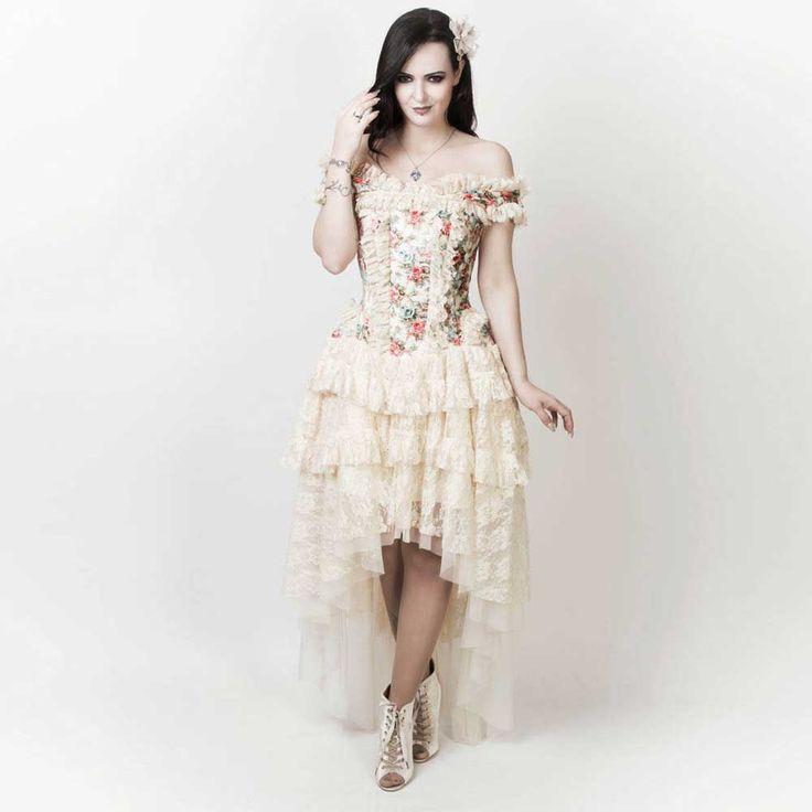 VG London Victoriaanse high low fluwelen korset jurk met bloemen print