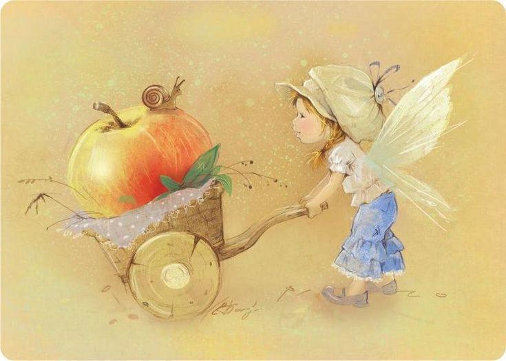 Яблочная фея © Е. Бабок Это о-о-чень хозяйственные феи - не дадут пропасть упавшим фруктам..)