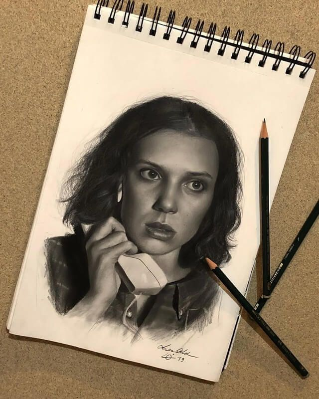 Celebrity Drawn With Colored Pencils Stranger Things Art Eleven Stranger Things Drawing Celebrity Drawings