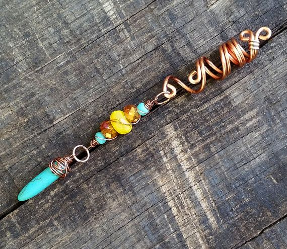 Dreadlock Bead, Bohemian Style, Clay Beads, Turquoise Faux Dangle…