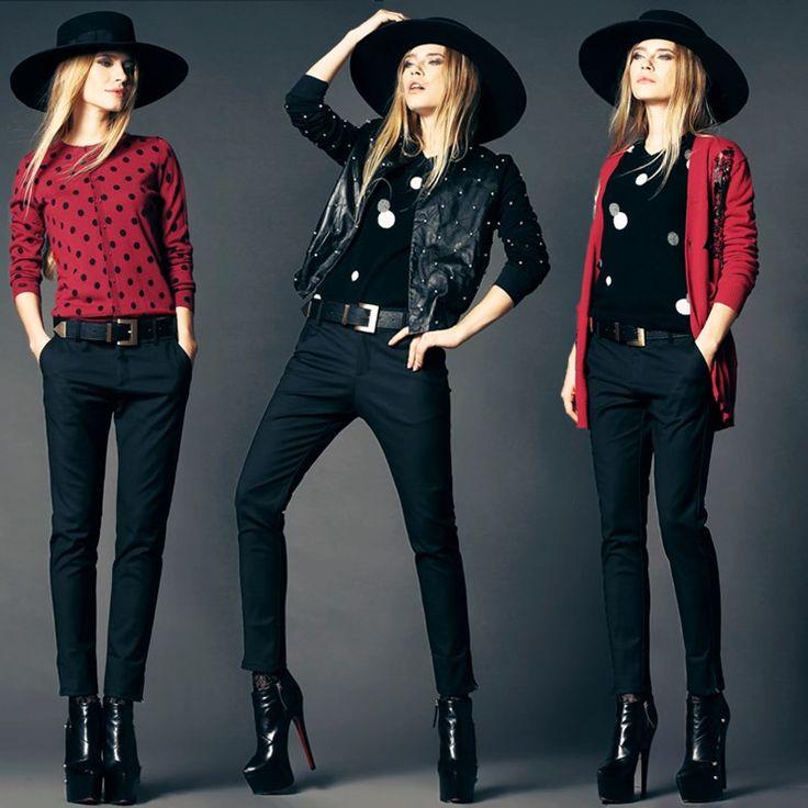 2015 Siyah kadın pantolonları siyah pantalon kadın kırmızı puanlı kazak