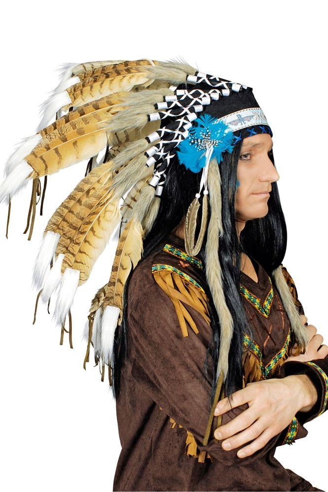 Authentischer Federschmuck für Indianer und Häuptling - hochwertige Verarbeitung. Eindrucksvolle Federn.