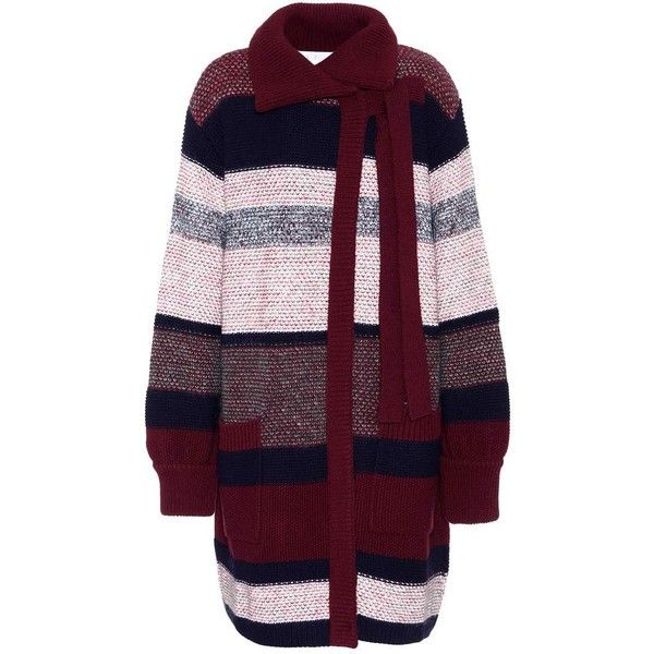 Chloé Wool, Mohair and Cashmere-Blend Cardigan (€2.370) ❤ liked on Polyvore featuring tops, cardigans, multicoloured, purple top, cashmere blend cardigan, multi color cardigan, multi colored cardigan and wool tops
