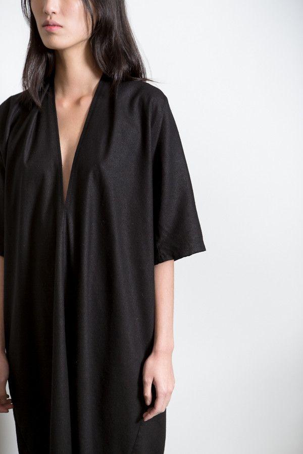 MINIMAL + CLASSIC: Miranda Bennett Black Silk Noil Muse Dress – Parc