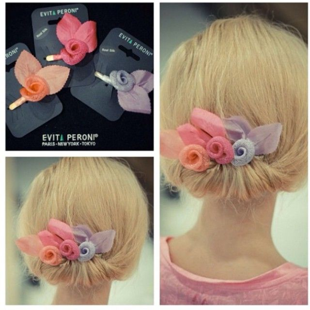 Here is a great way to show off your lovely up do and accessorise with Evita Peroni's hair clips! #evitaperoni #color #floral #hair #clips #accessories
