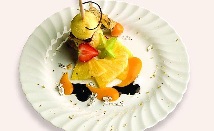 Torretta con sorbetto di ananas e cioccolato amaro | Ricetta di chef Antonio Marangi || #ricette #InsolitoPanettone