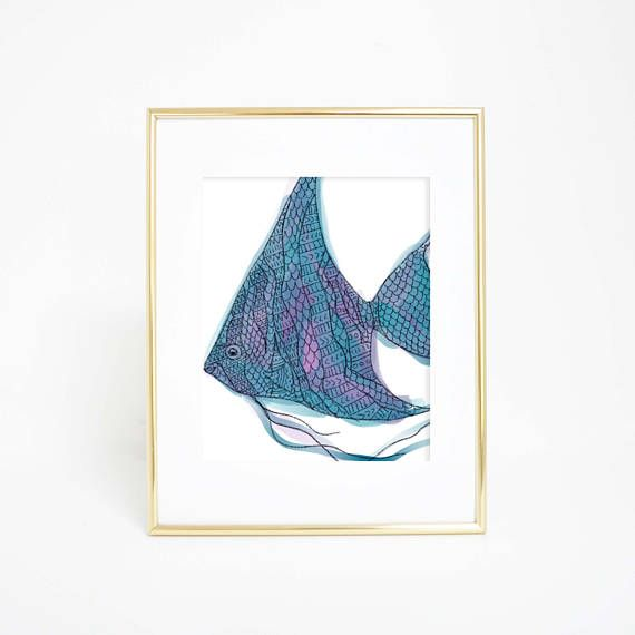 Tropical Fish Print Angel Fish Artwork Tribal Pattern Art