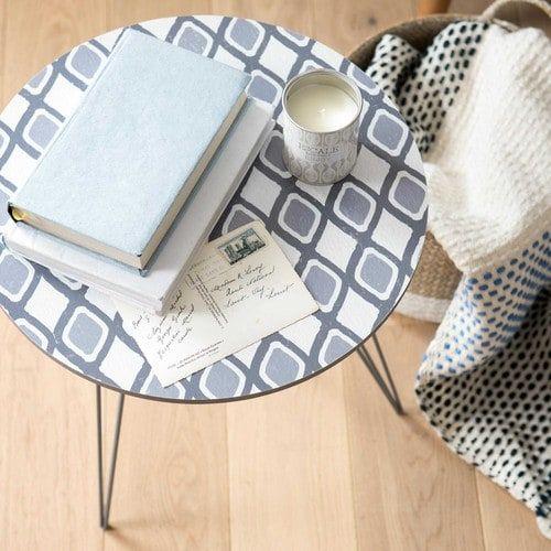 Bout de canapé imitation bois et métal gris KEROUAN