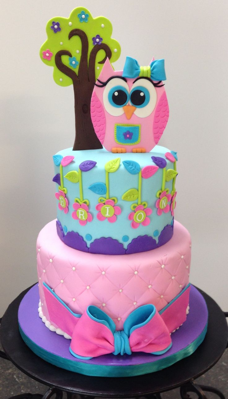 Owl Birthday Cake - Owl, tree, and bow are gum paste.