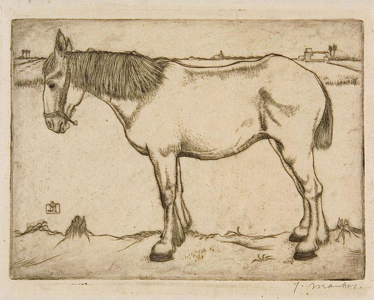 Paard - kopergravure 1917 - Jan Mankes (1889-1920)