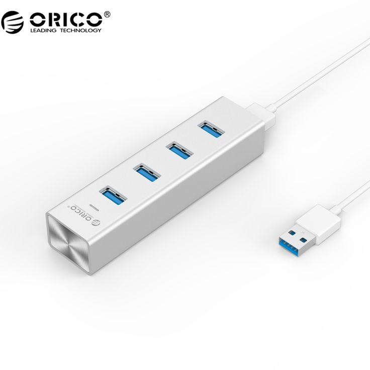 ORICO H4013-U3-SV Aluminum 4 Port USB3.0 Hub for Your Mac Notebook - Silver