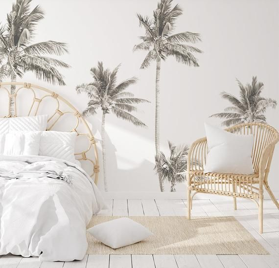 Palm Tree Mural Ii Removable Wallpaper Also For Dolls House Ikea Kmart Kids Play Kitchen Splashbacks Tree Mural Removable Wallpaper Home Wallpaper