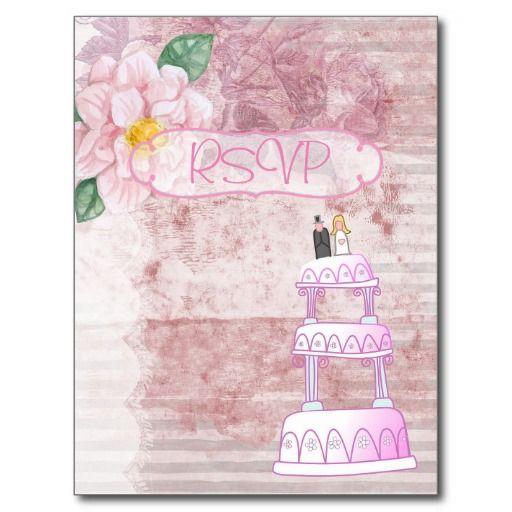 Pink Vintage Wedding Invitation RSVP with Photo Postcard
