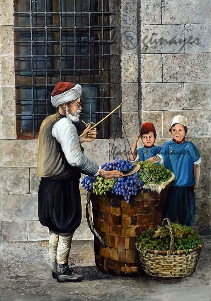 Üzümcü ve çocuklar tablom 19.yy Yağlıboya