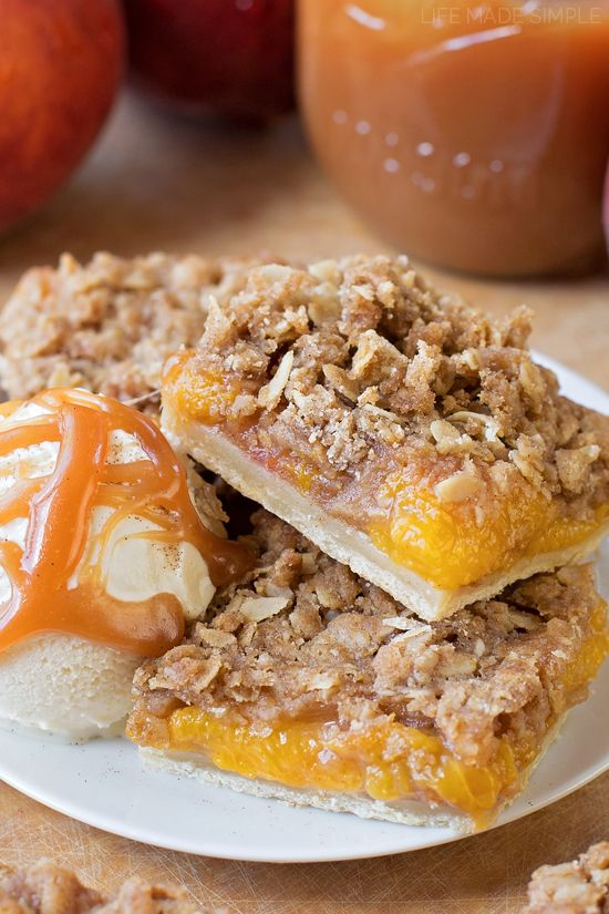 Sweeten up your summer with these peach pie bars! They're the perfect combination of peach pie & peach crisp... and boy are they delicious!