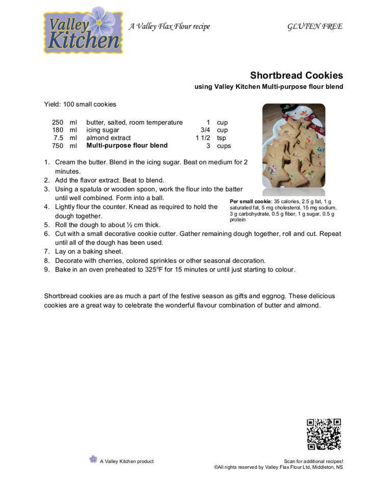Shortbread Cookies made using Valley Kitchen Multi-Purpose Flour Blend