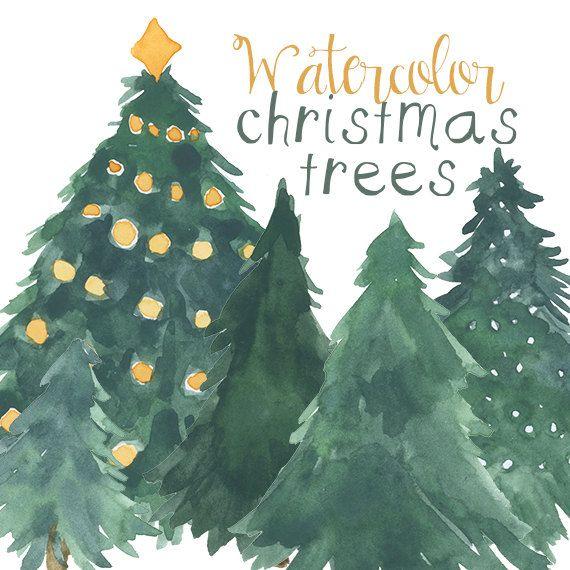 Aquarell Weihnachtsbaum-Cliparts für von DigitalPressCreation