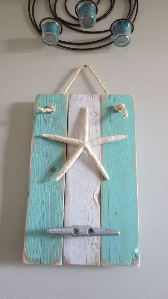 Starfish Wall Hanging blue turquoise white by giventogauche, $46.00