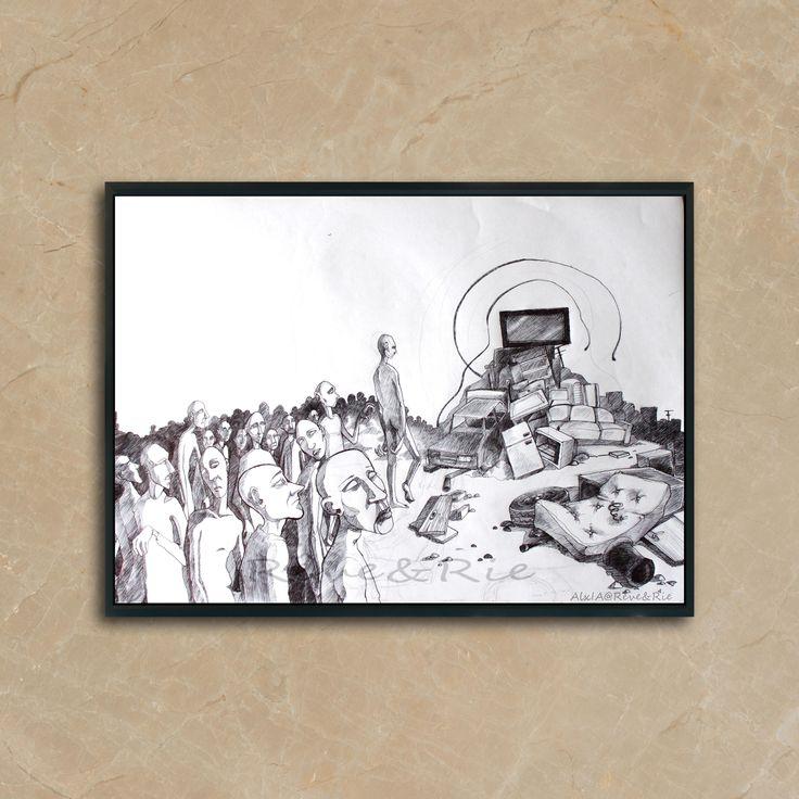 """Voici ce que je viens d'ajouter dans ma boutique #etsy : REPRODUCTION d'art, Fantastic, Impression sur papier, cadeau art déco, format A4 """"King Media"""" http://etsy.me/2BPunUf #art #dessin #fanatisme #anniversaire #tv #media #reproduction #illustration #image"""