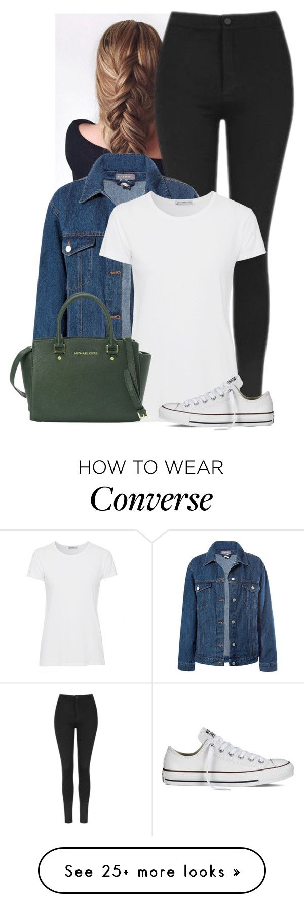 """Untitled #876"" by bunnylovexox on Polyvore featuring Topshop, Sans Souci, AG Adriano Goldschmied, MICHAEL Michael Kors and Converse"