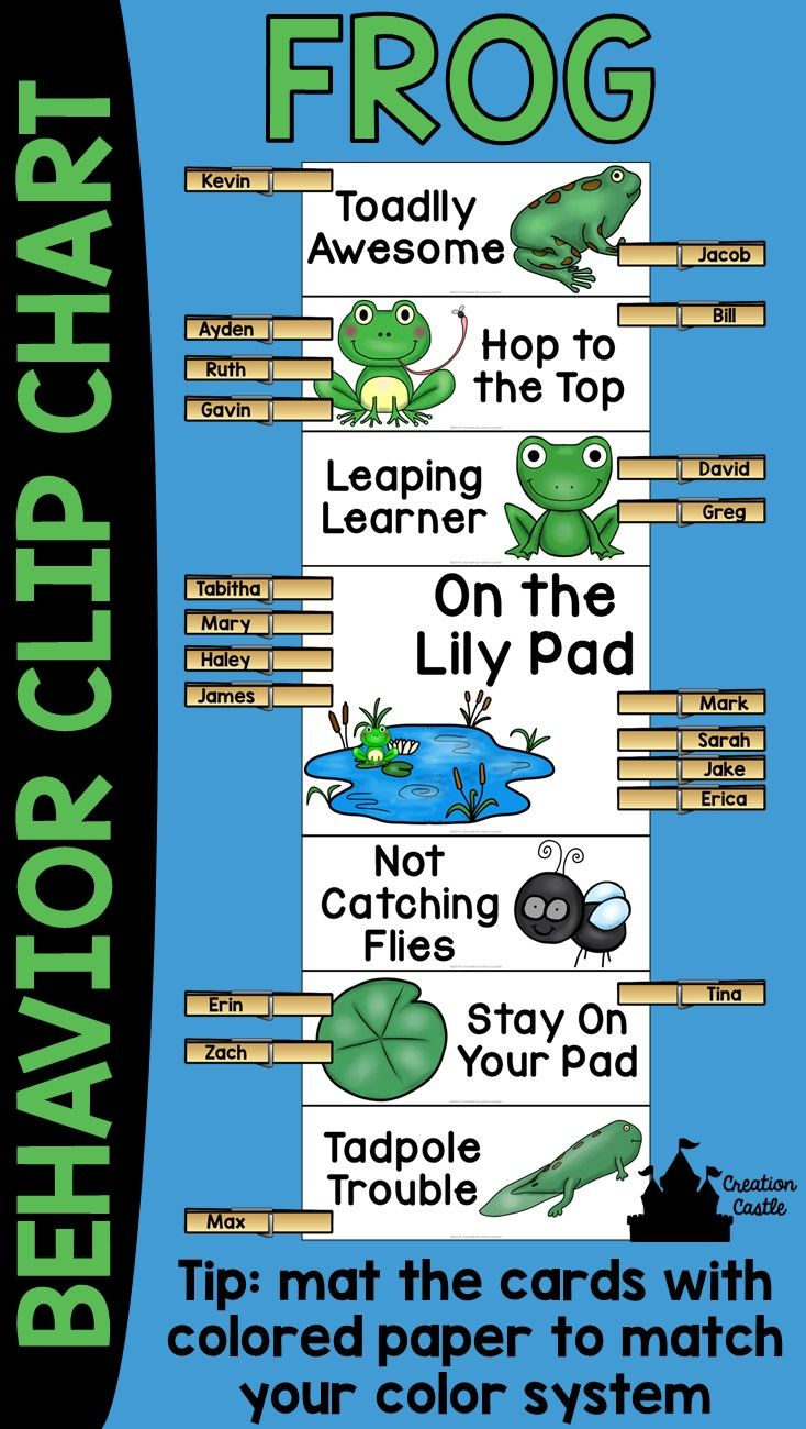 "This frog theme behavior clip chart will look wonderful in your classroom! Encourage your students to have ""Toadlly Awesome"" behavior and climb to the top of the chart! Behavior clip charts are a great tool in the classroom, allowing students and teachers to keep track of students misbehavior or outstanding behavior."